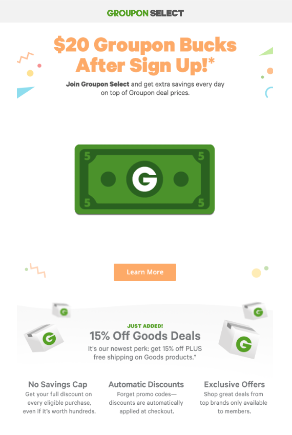 Groupon Select Fanning Cash Email Promotion
